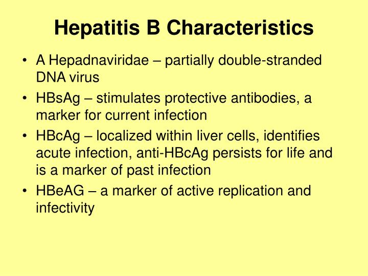 Hepatitis B Characteristics