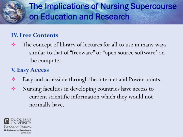The Implications of Nursing Supercourse on Education and Research