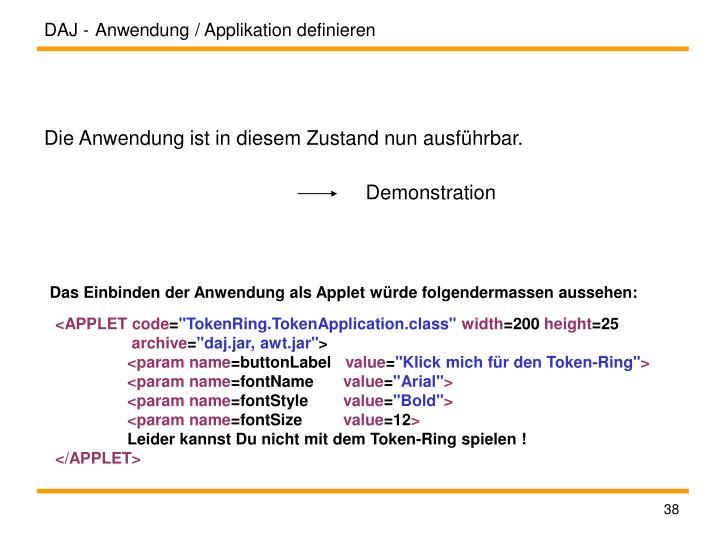 Anwendung / Applikation definieren