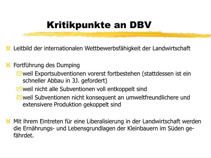Kritikpunkte an DBV