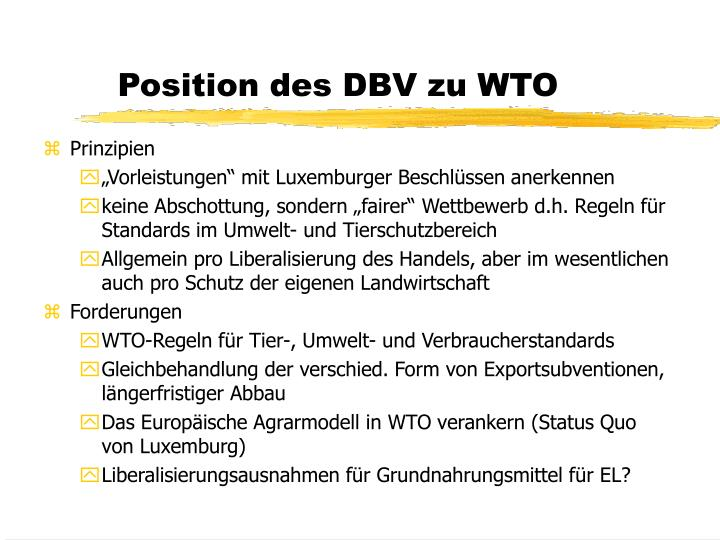 Position des DBV zu WTO
