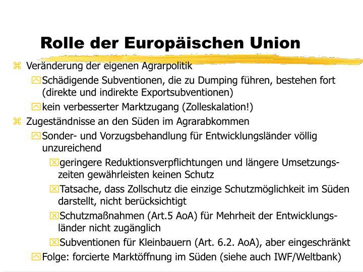 Rolle der Europäischen Union
