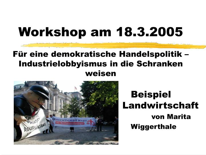 Workshop am 18.3.2005