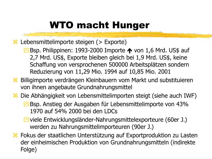 WTO macht Hunger