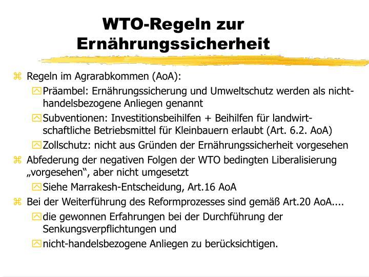 WTO-Regeln zur Ernährungssicherheit