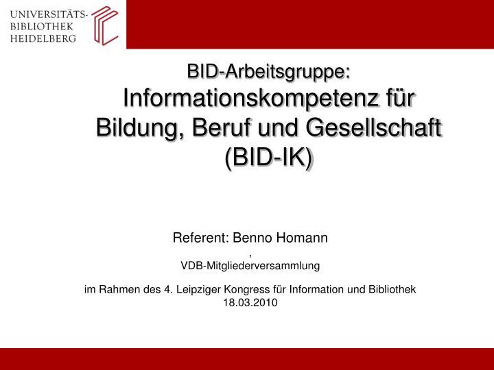 BID-Arbeitsgruppe: