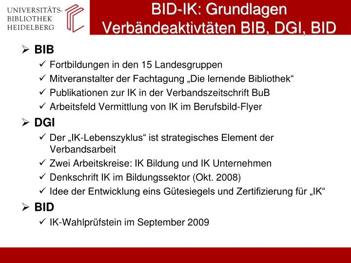 BID-IK: Grundlagen