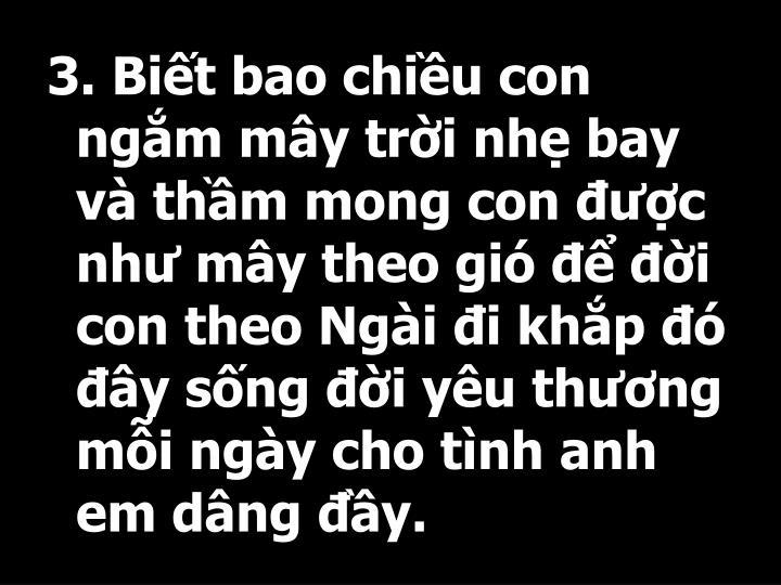 3. Bit bao chiu con ngm my tri nh bay v thm mong con c nh my theo gi  i con theo Ngi i khp  y sng i yu thng mi ngy cho tnh anh em dng y.