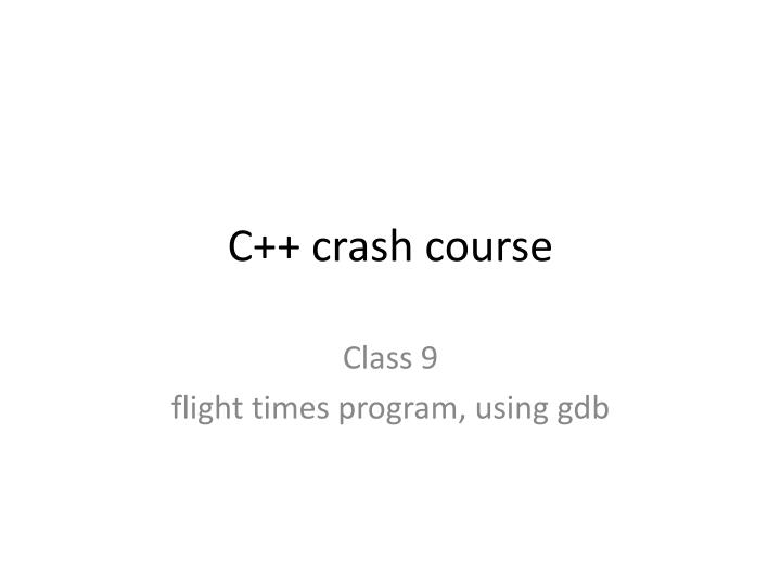 C crash course