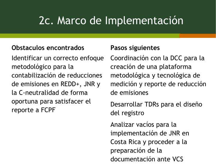 2c. Marco de Implementación