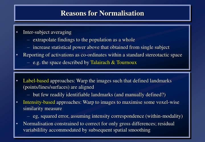 Reasons for Normalisation