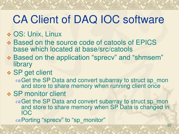 CA Client of DAQ IOC software