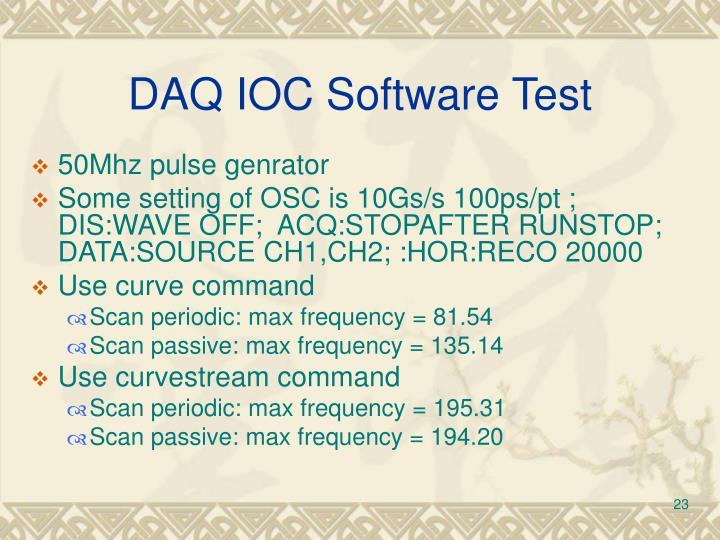 DAQ IOC Software Test