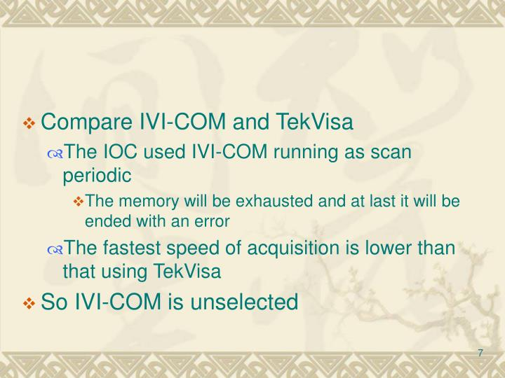 Compare IVI-COM and TekVisa