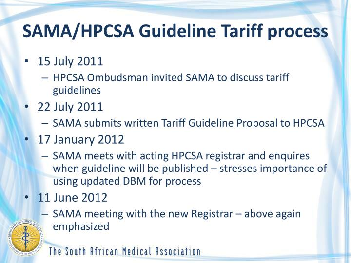 SAMA/HPCSA Guideline Tariff process