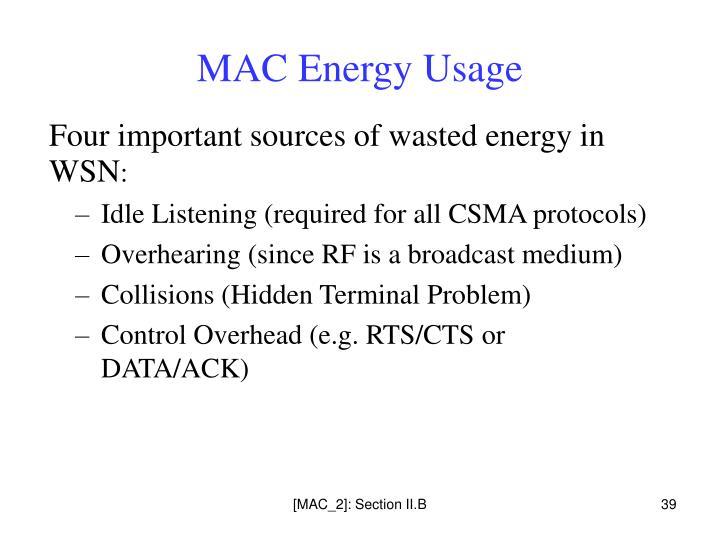 MAC Energy Usage
