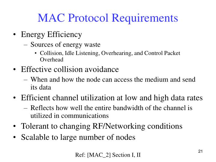 MAC Protocol Requirements