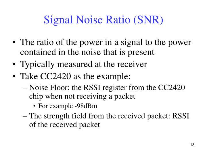 Signal Noise Ratio (SNR)