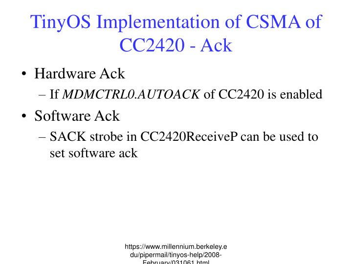 TinyOS Implementation of CSMA of CC2420 - Ack
