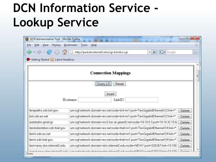 DCN Information Service - Lookup Service