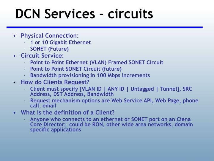 DCN Services - circuits
