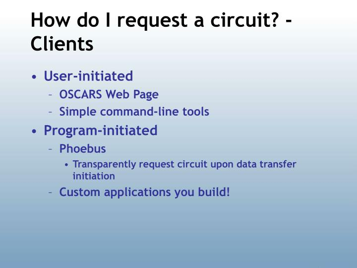 How do I request a circuit? - Clients
