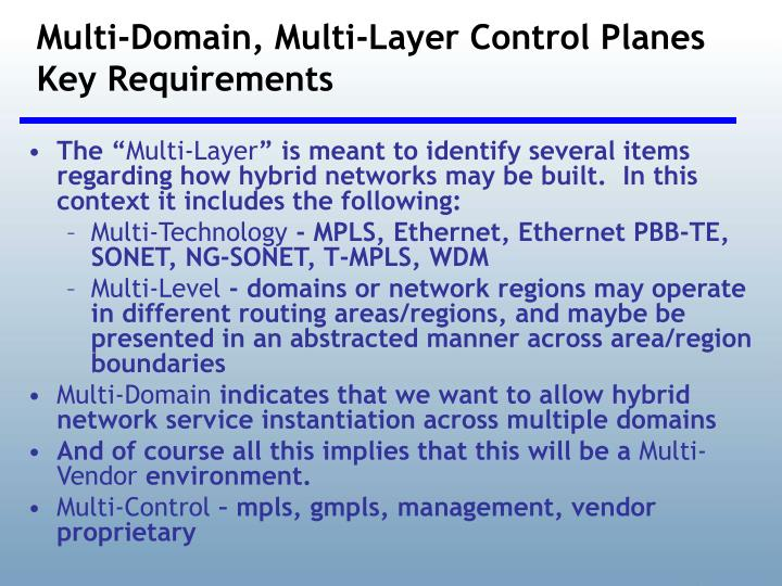 Multi-Domain, Multi-Layer Control Planes