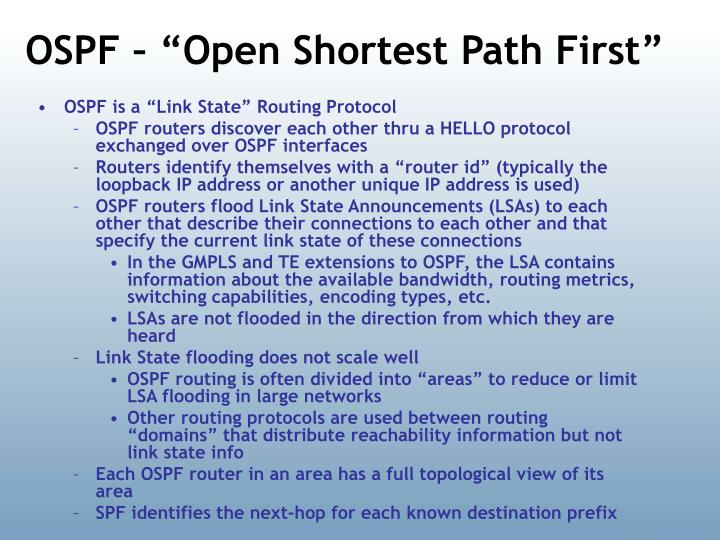 "OSPF – ""Open Shortest Path First"""