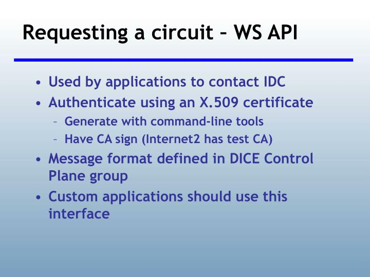 Requesting a circuit – WS API