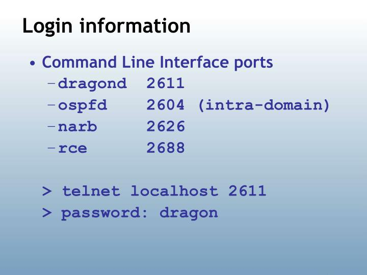 Command Line Interface ports