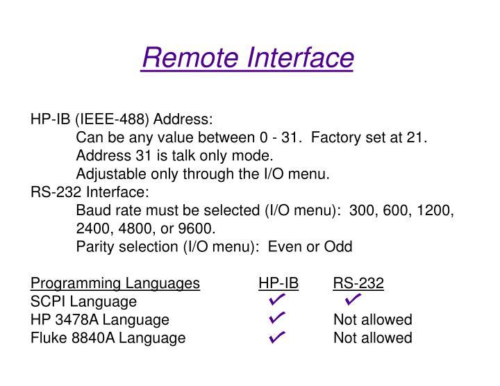 HP-IB (IEEE-488) Address: