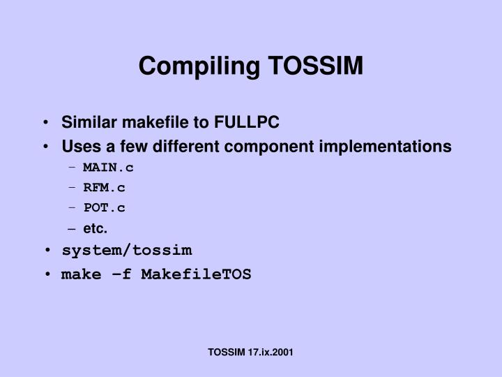 Compiling tossim