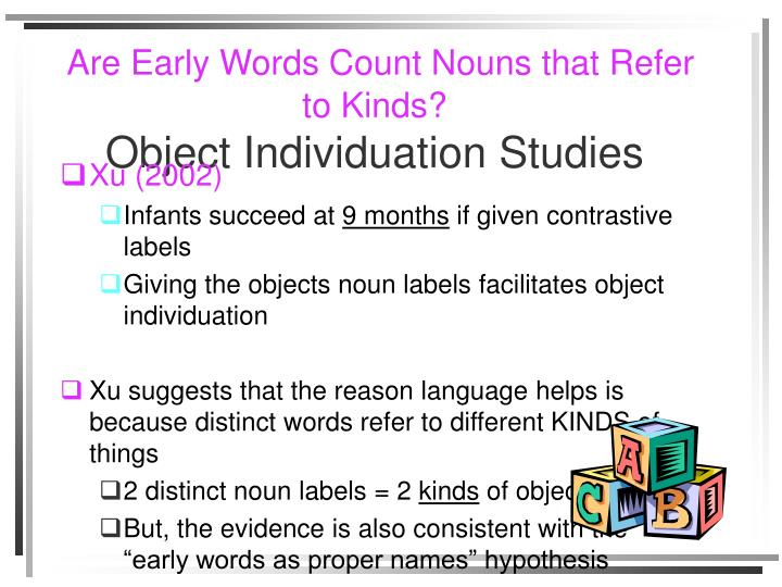 Are Early Words Count Nouns that Refer to Kinds?