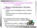 are early words count nouns that refer to kinds object individuation studies