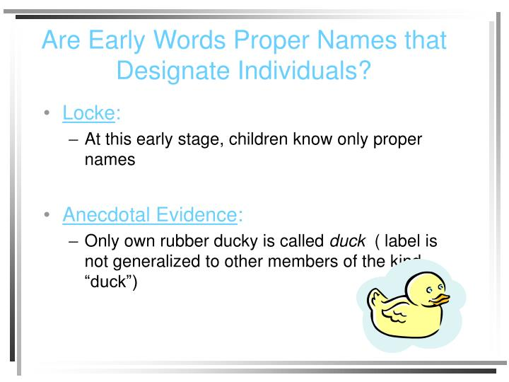 Are Early Words Proper Names that Designate Individuals?