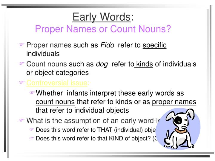 Early words proper names or count nouns