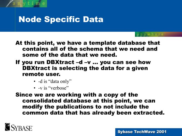 At this point, we have a template database that contains all of the schema that we need and some of the data that we need.