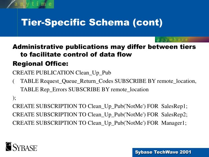 Administrative publications may differ between tiers to facilitate control of data flow
