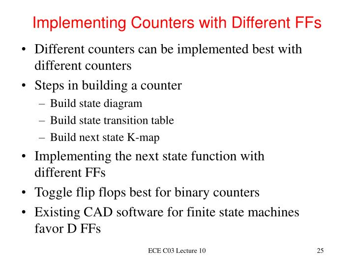Implementing Counters with Different FFs