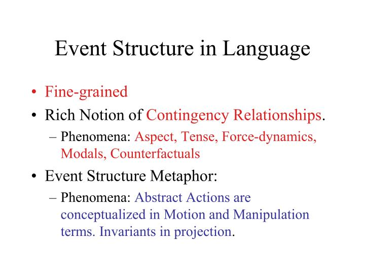 Event Structure in Language