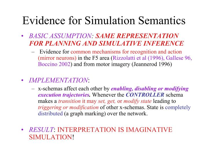 Evidence for Simulation Semantics