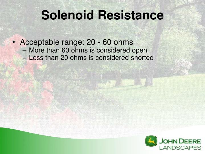 Acceptable range: 20 - 60 ohms