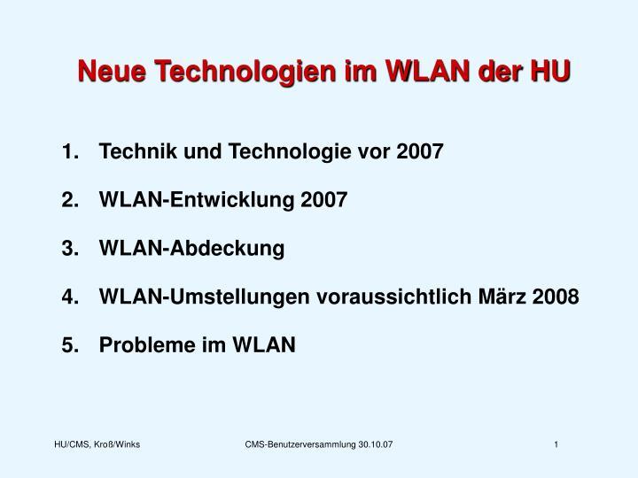 Neue Technologien im WLAN der HU