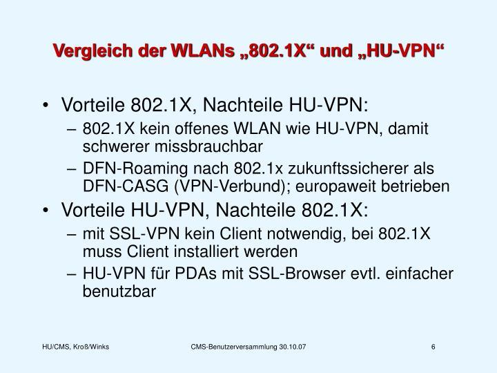 """Vergleich der WLANs """"802.1X"""" und """"HU-VPN"""""""