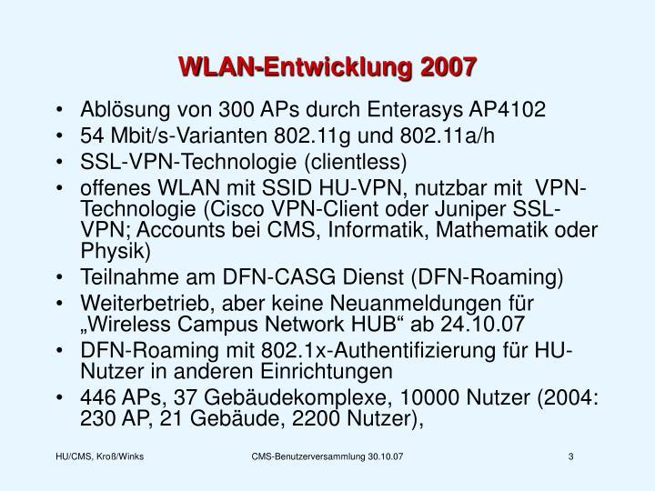 WLAN-Entwicklung 2007