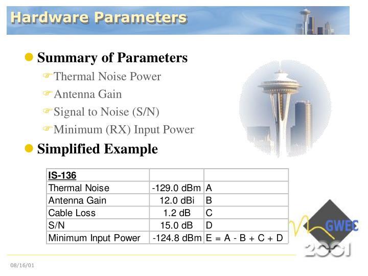 Hardware Parameters