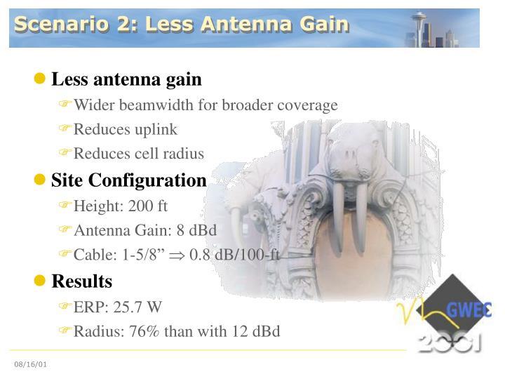 Scenario 2: Less Antenna Gain
