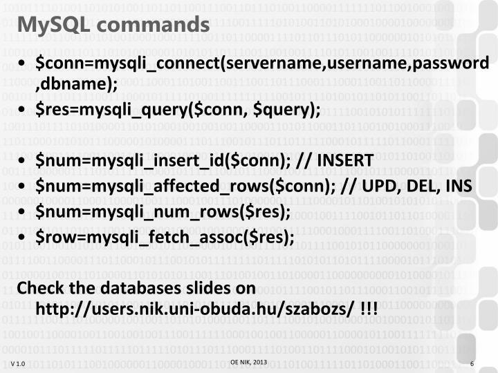 MySQL commands