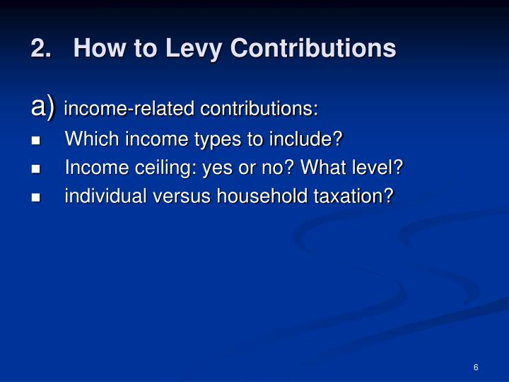 How to Levy Contributions