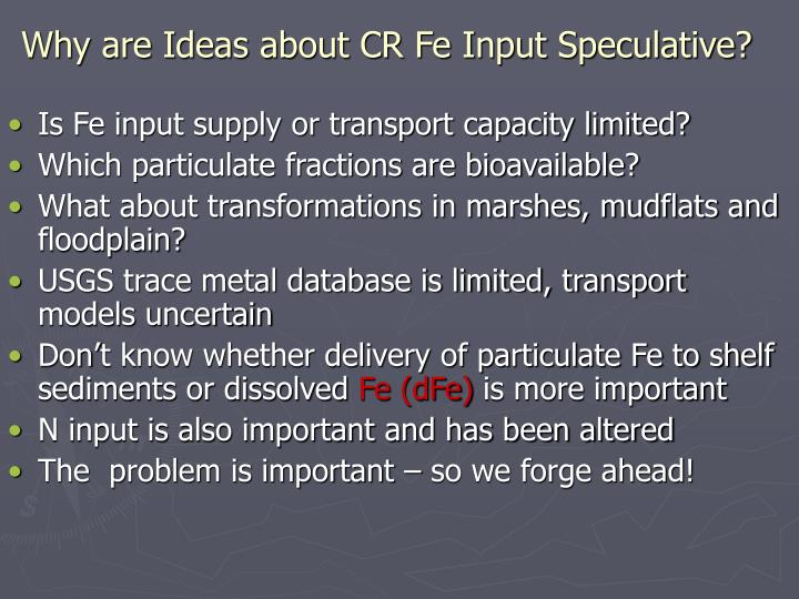 Why are Ideas about CR Fe Input Speculative?